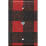 Phone Jack Cover in Red & Black Check Plaid Log Cabin Decor