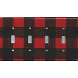 Quad Toggle Light Switch Plate in Red Black Buffalo Plaid Woodland Nursery Decor- Simply Chic Gal