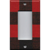 Single Rocker Decora GFI Outlet Cover Red Black Buffalo Plaid Woodland Nursery Decor Simply Chic Gal