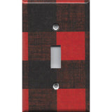 Single Light Switch Cover in Red Black Buffalo Plaid Woodland Nursery Decor- Simply Chic Gal