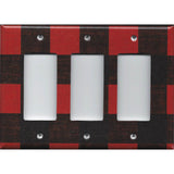Triple Rocker Decora Light Switch Cover in Red & Black Check Plaid Log Cabin Decor