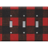 Triple Toggle Light Switch Plate in Red Black Buffalo Plaid Woodland Nursery Decor- Simply Chic Gal