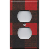 Wall Outlet Plate Cover in Red Black Buffalo Plaid Woodland Nursery Decor- Simply Chic Gal