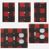 Red & Black Plaid Nursery Decor Farmhouse Christmas Light Switch Covers & Outlet Covers