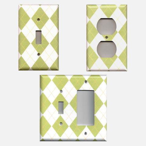 Sage Green Argyle Diamonds Light Switch Plate and Outlet Covers Handmade Home Decor- Simply Chic Gal