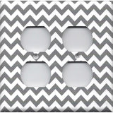 Wall Outlet Plate Cover in Silver Charcoal Gray Chevron Print