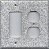 Combo Rocker GFI and Outlet Cover in Silver Gray Grey Damask Print- Simply Chic Gal