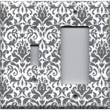 Combo Light Switch and Rocker Cover in Silver Gray and White Floral Damask Print