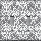 Double Toggle Light Switch Plate in Silver Gray and White Floral Damask Print
