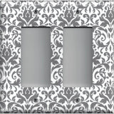 Double Rocker Decora Light Switch Cover in Silver Gray and White Floral Damask Print