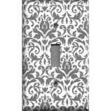 Single Toggle Light Switch Cover in Silver Gray and White Floral Damask Print