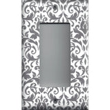Single Rocker Decora GFI Outlet Cover in Silver Gray and White Floral Damask Print