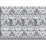 Triple Toggle Light Switch Cover in Silver Gray and White Floral Damask Print