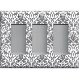 Triple Rocker Decora Light Switch Cover in Silver Gray and White Floral Damask Print