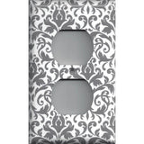 Wall Outlet Plate Cover in Silver Gray and White Floral Damask Print