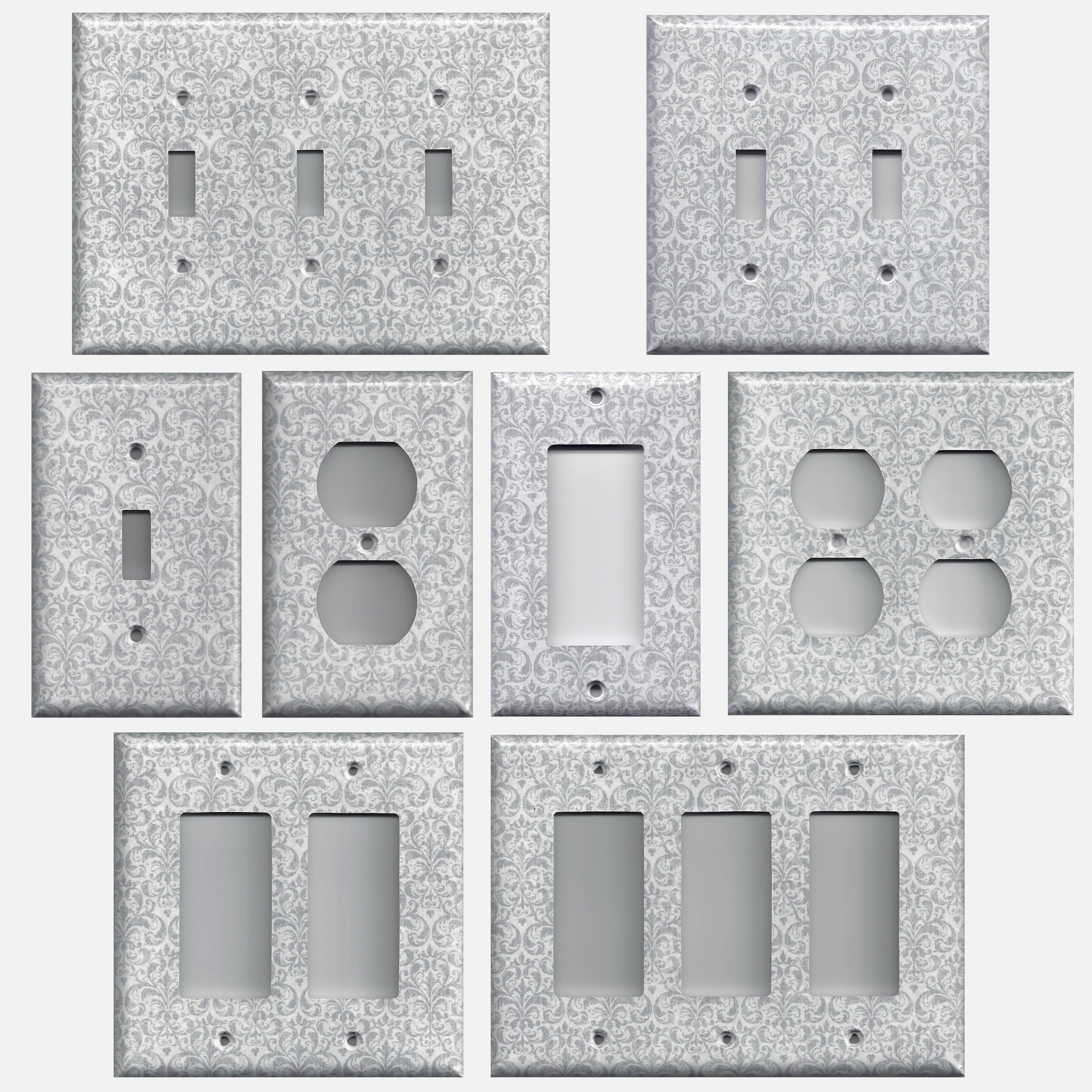 silver gray grey damask print light switch plates outlet covers