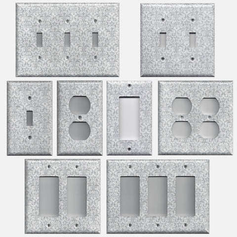 Silver Gray Grey Damask Print Light Switch Plate Cover & Outlet Covers