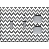 Combo 2 Toggle Light Switches and Outlet Cover in Silver Charcoal Gray Chevron Print