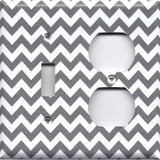 Combo Light Switch and Outlet Cover in Silver Charcoal Gray Chevron Print