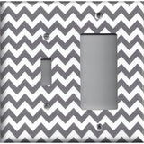 Combo Light Switch and Rocker Cover in Silver Charcoal Gray Chevron Print