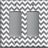 Double Rocker Decora Light Switch Cover in Silver Charcoal Gray Chevron Print