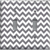Double Toggle Light Switch Cover in Silver Charcoal Gray Chevron Print