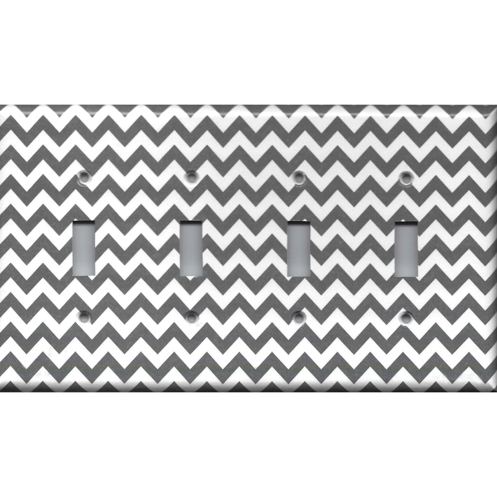 Quad Toggle Light Switch Cover in Silver Charcoal Gray Chevron Print