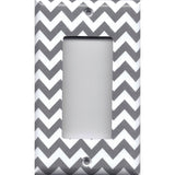 Single Rocker Decora GFI Outlet Cover in Silver Charcoal Gray Chevron Print