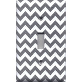 Single Toggle Light Switch Plate Cover in Silver Charcoal Gray Chevron Print