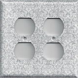 4 Plug Outlet Cover in Silver Gray Grey Damask Print Handmade- Simply Chic Gal