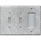 Combo 2 Toggle Light Switches and Rocker Cover in Silver Gray Grey Damask Print