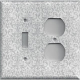 Combo Light Switch and Outlet Cover in Silver Gray Grey Damask Print Handmade- Simply Chic Gal