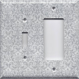 Combo Light Switch and Rocker GFI Outlet Cover in Silver Gray Grey Damask Print- Simply Chic Gal