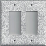 Double Rocker Decora Light Switch Cover in Silver Gray Grey Damask Print Handmade- Simply Chic Gal