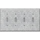Quad Toggle Light Switch Plate Cover in Silver Gray Grey Damask Print Handmade- Simply Chic Gal