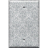 Single Blank Cover in Silver Gray Grey Damask Print