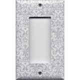 Single Rocker Decora GFI Outlet Cover in Silver Gray Grey Damask Print Handmade- Simply Chic Gal