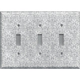 Triple Toggle Light Switch Plate Cover in Silver Gray Grey Damask Print Handmade- Simply Chic Gal