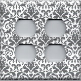 4 Plug Outlet Cover in Silver Gray and White Floral Damask Print