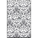 Cable Jack Cover in Silver Gray and White Floral Damask Print