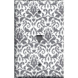 Phone Jack Cover in Silver Gray and White Floral Damask Print