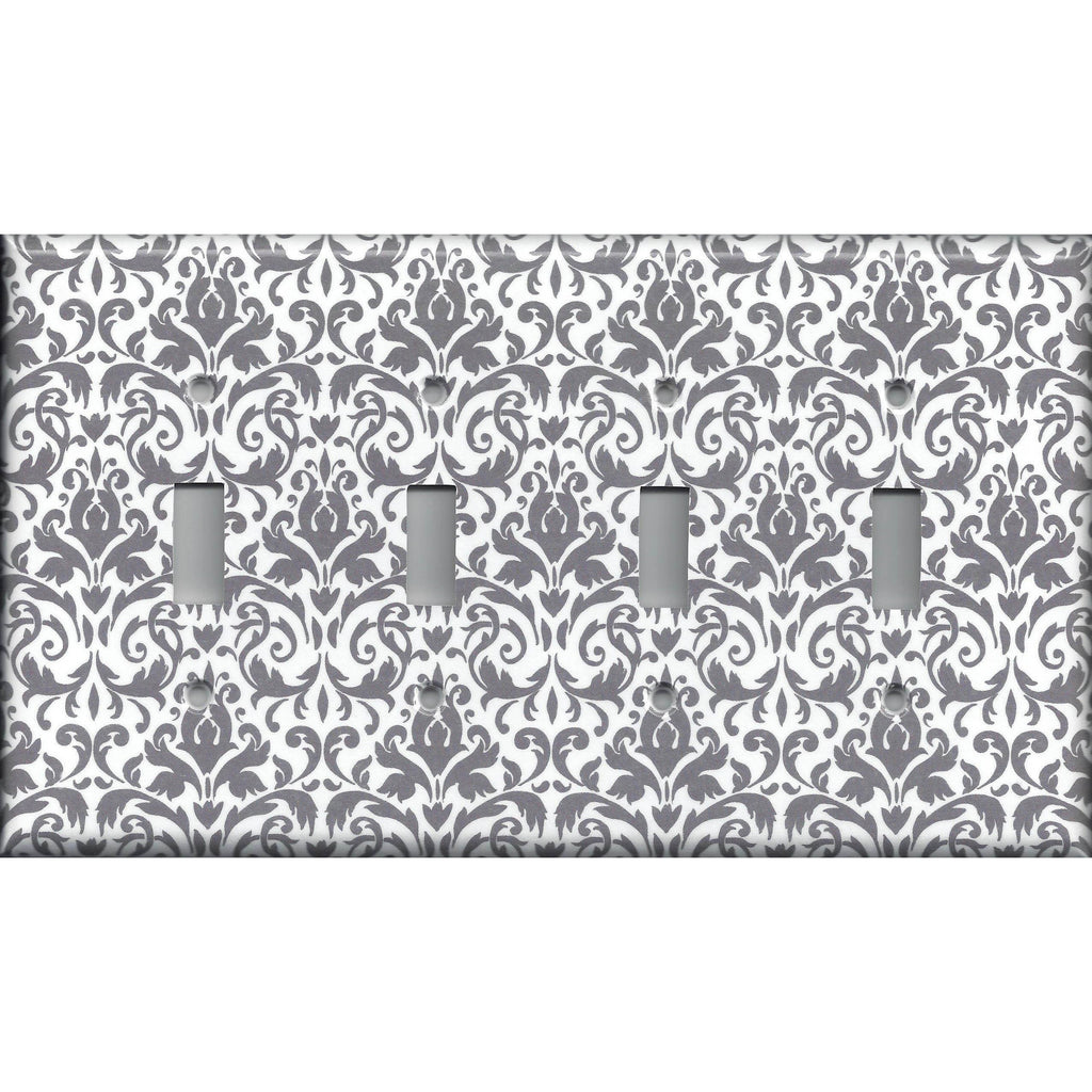 Quad Toggle Light Switch Cover in Silver Gray and White Floral Damask Print
