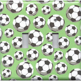 Soccer Balls Futbol Sports Theme Kids Room Decor Light Switch Covers Wall Outlet Covers