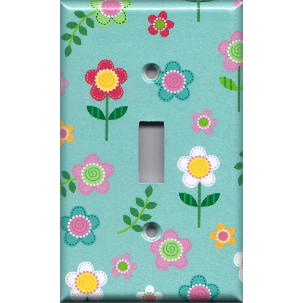 Single Toggle Light Switch Cover in Pretty Flowers Girls Bedroom Decor Handmade- Simply Chic Gal