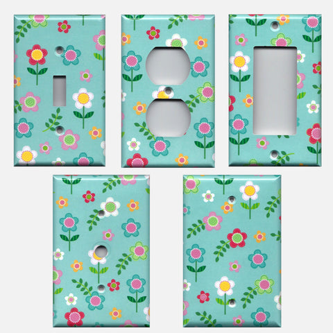 Flowers on Aqua Blue Girls Bedroom Spring Decor Light Switch Plate Covers and Wall Outlet Covers Hand Made Home Decor