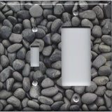 Combo Light Switch and Rocker GFI Outlet Cover in Slate Grey Stone River Pebbles