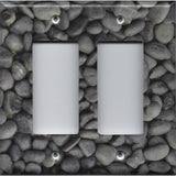 Double Rocker Decora Light Switch Cover in Slate Grey Stone River Pebbles Pattern