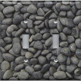 Double Toggle Light Switch Plate in Slate Grey Stone River Pebbles Pattern