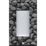 Single Rocker Decora GFI Outlet Cover in Slate Grey Stone River Pebbles Pattern