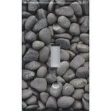 Single Toggle Light Switch Cover in Slate Grey River Pebbles Handmade- Simply Chic Gal